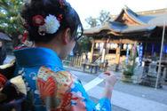 振袖で大原神社お参りです